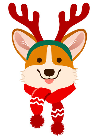 Christmas Corgi dog cute cartoon vector portrait. Pembroke Welsh corgi puppy dog wearing antlers and scarf. Winter, Christmas, pets, dog lovers theme design element, flat contemporary style.