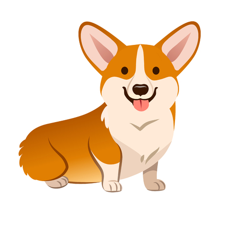 Ilustración de dibujos animados de vector de perro Corgi. Lindo cachorro de Welsh Corgi amistoso sentado, sonriendo con la lengua fuera aislado en blanco. Mascotas, animales, elemento de diseño de tema canino en estilo plano simple contemporáneo