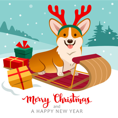 Cute welsh corgi dog sitting on sled wearing reindeer antlers with Christmas gifts around, winter hills with trees in background, snow falling. Christmas for pets, dog lovers theme cards, posters. 矢量图像