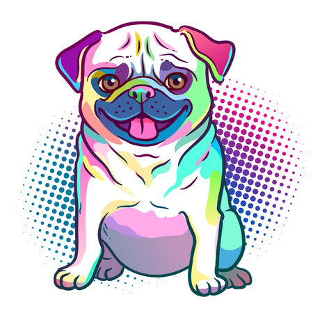 Pug dog pop art style illustration in bright neon rainbow colors, with halftone dot background, isolated on white. Dogs, pets, animal lovers theme design element.