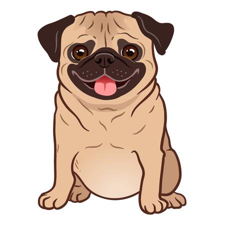 Mops-Hund-Cartoon-Illustration. Netter freundlicher, fetter, molliger, sitzender Mopswelpe, der mit herausgestreckter Zunge lächelt. Haustiere, Hundeliebhaber, Tierthemenorientiertes Gestaltungselement lokalisiert auf Weiß.