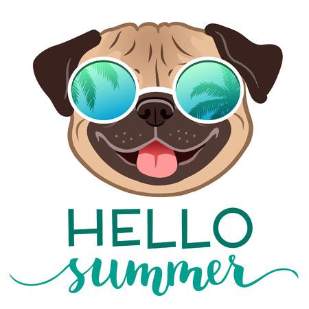 Pug dog indossando occhiali da sole a specchio con riflesso di palme, con illustrazione vettoriale di testo Hello Summer. Divertente stile di vita umoristico, vacanze estive, resort, elemento di design a tema vacanza tropicale.