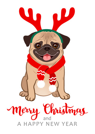 Christmas pug dog cartoon illustration. Cute friendly fat chubby fawn sitting pug puppy, smiling with tongue out, wearing red scarf and antlers. Pets, dog lovers, animal themed Christmas greeting card Ilustracja