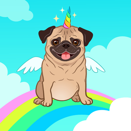 Cane del carlino dell'unicorno con il corno e le ali del fumetto di vettore. Simpatico cucciolo di carlino nel cielo con arcobaleno e nuvole, sorridente con la lingua fuori. Creature umoristiche, magiche, mitiche, credi in te stesso.