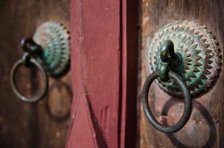 Handle of the very old temple door,Thailand