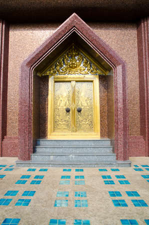 The Golden door of the old temple,Thailand Stock Photo