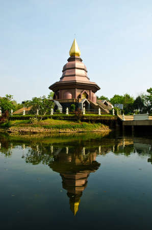 Beautiful reflect view of old temple, East of thailand