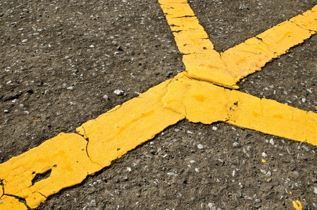 Yellow line on the road photo