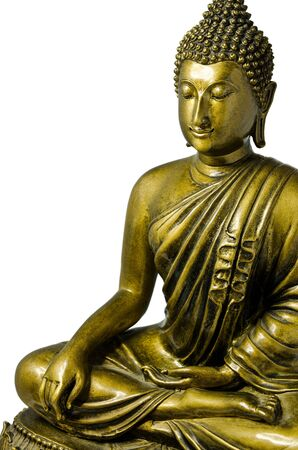 Isolated Buddha sculpture in meditation action  photo