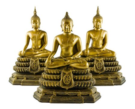 Three Buddha sculpture in meditation action  photo