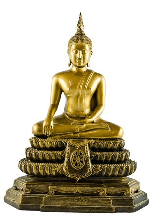 Isolated Buddha sculpture in meditation action