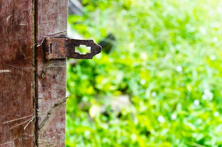 Closeup rusty old door lock with green nature background photo