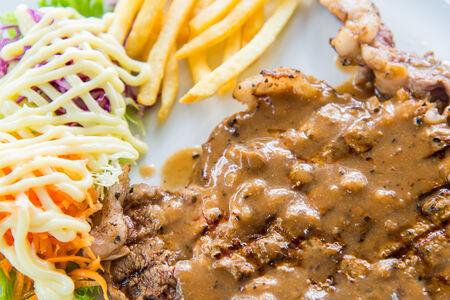 Closeup to steak dish Stock Photo