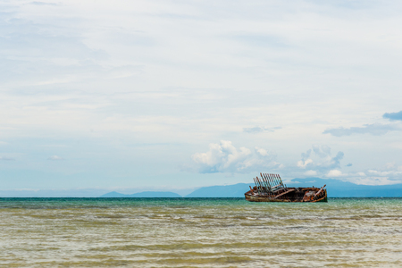 Image of ruin fishing boat in Thailand