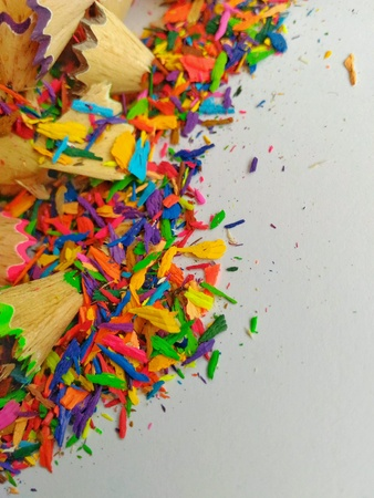 Image of pencils color sharpen dust on white paper Stock Photo