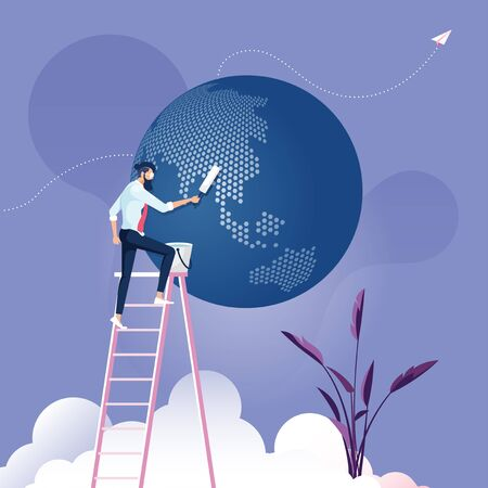 Businessman clean up the world-Business environment concept