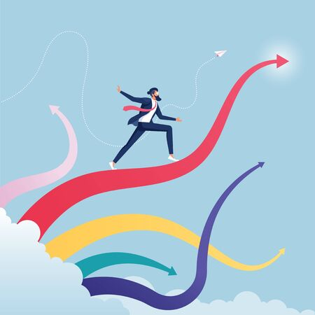 Businessman surfing on upward arrow waves-Business growth concept