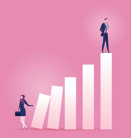 Businesswoman pushing carreer ladder with other man on top - Business concept vector