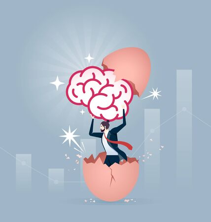 Businessman holding a brain and breaking out of a giant egg shell