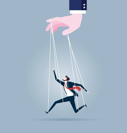Businessman marionette on ropes controlled by hand - Business concept vector