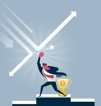 Businessman in boxing gloves punching arrow for protect trophy - Business competition concept vector