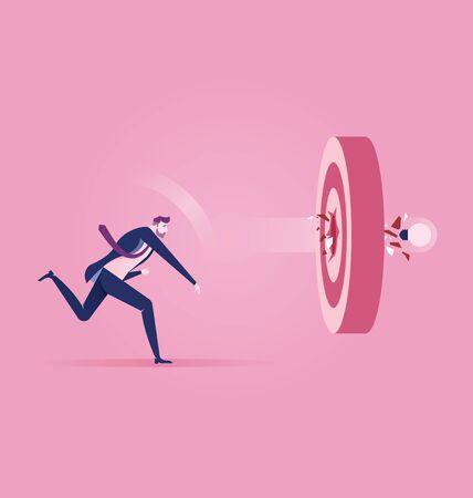Successful. Businessman Throw light bulb and go to accuracy reach aim. Concept achievement vector illustration.