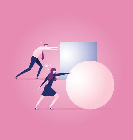 Businesswoman rolling a ball leading the race against a group of slower businessman pushing boxes - Business concept vector Vektorové ilustrace