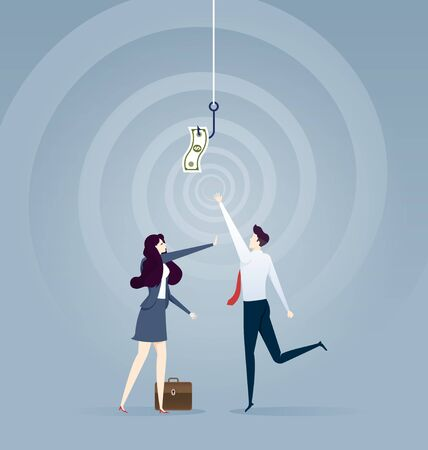 Businessman try to pick money from hook trap. Money as trap business concept Illustration