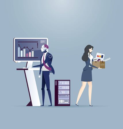Artificial Intelligence robot replaces in the work of businesswomen. Turnover workers.Technologies replace people. Ilustração