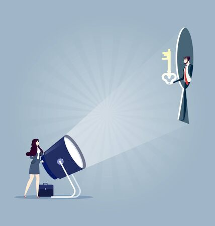Keyhole. Businesswoman with flashlight and keyhole. Business concept