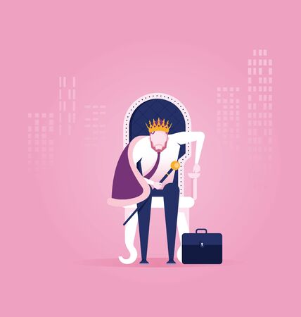 King businessman - vector illustration. A successful businessman is sitting on throne crown on his head Çizim