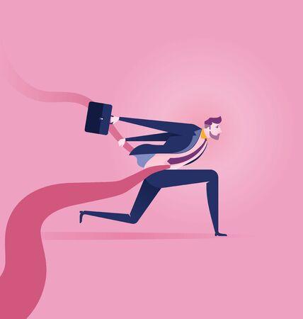 Finish line. Businessman tearing the finishing tape. Concept business illustration Illusztráció