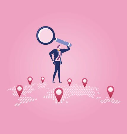 Investor. Businessman looking for investment opportunity standing on the map of Europe. Concept business vector illustration Çizim