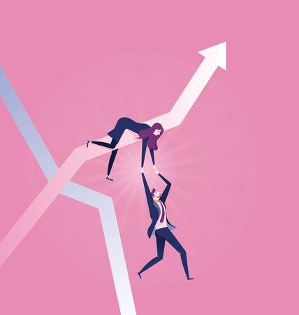 Rising businesswoman pulling fallen businessman - Illustration