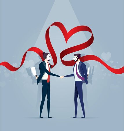 Two Business Man In Mask Shake Hands and Hold Knife. Concept Business Vector Vectores