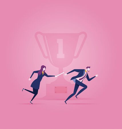 Businesswoman and Businesswoman passing the baton in a relay race Illustration