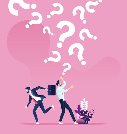 Question marks falling on a businessman. Business concept vector