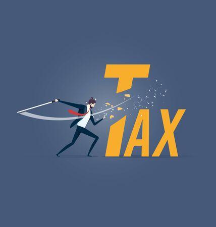 Tax cutting. Businessman cut tax word with sword Illusztráció