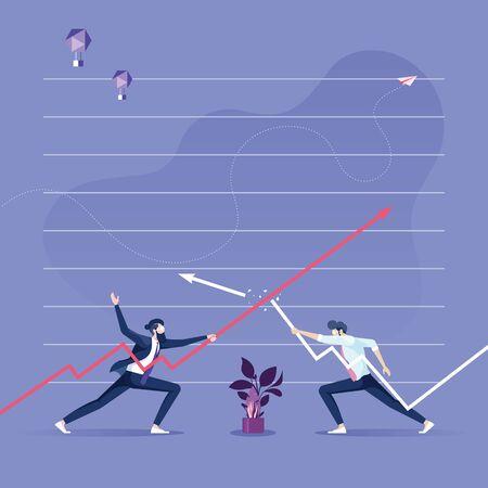 Two businessman keep the arrows against each other-Business competition concept Illusztráció