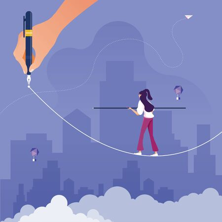 Risk challenge in business concept-Businesswoman walking on pathway to success, walking on balancing tight rope as it is drawn by big hand Vectores