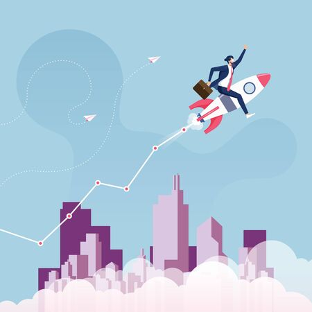 Start up and growth success concept-Businessman ride rocket flying on sky with graph
