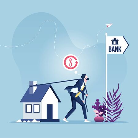Mortgage Refinancing Loan-businessman dragging house to the bank.