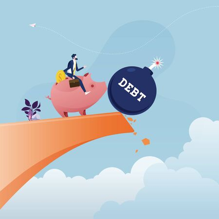 Piggy Bank Pushing The Debt from the top of the hill-Financial freedom concept Illustration