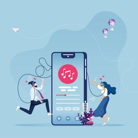Online Music entertainment Vector Concept Иллюстрация