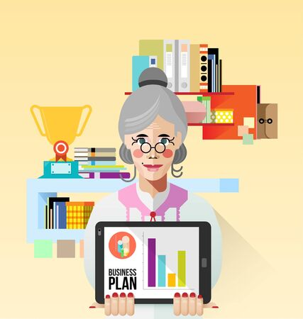 Old Business woman use tablet for presentation