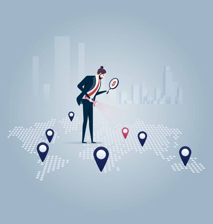 Investor. Businessman looking for investment opportunity standing on the map of Europe. Concept business vector illustration Vectores