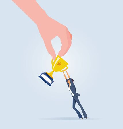 Big hand snatch trophy from businesswoman. Business competition Illustration