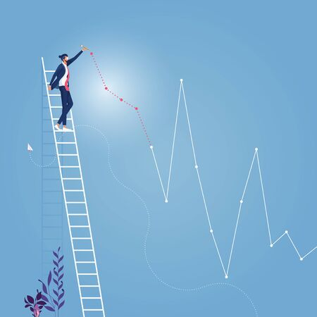 Business growth concept-Businessman create a positive graph Illustration