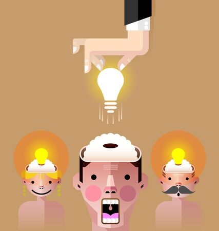 Creative light bulb with people brain idea