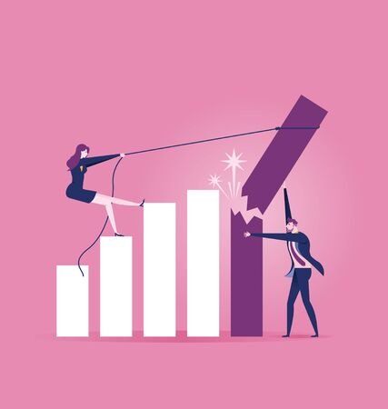 Businessman trying to hold on the breaking and falling down growth rate graph bar - Business Concept Illustration